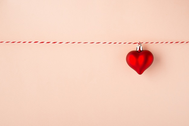 Red heart-symbol of love, valentine's day, copy space