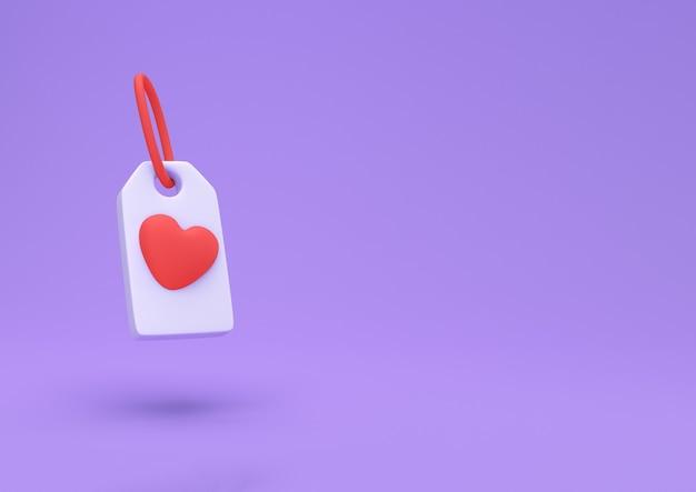 かわいい背景に分離された赤いハートのタグアイコン。愛のシンボル。バレンタインデーのシンボル。最小限のクリエイティブコンセプト。 3dイラスト3dレンダリング