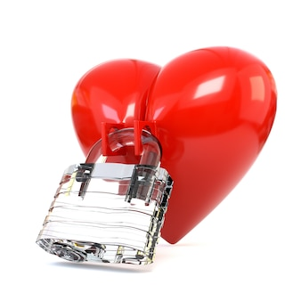Red heart with crystal padlock isolated on white background.