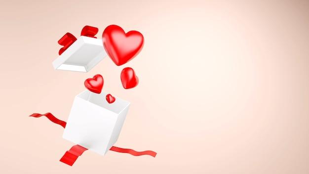 Красное сердце с подарочной коробкой, 3d визуализация