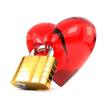 Red heart with padlock isolated on white background.