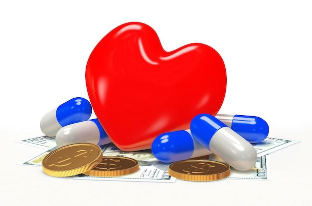 Красное сердце с таблетками и деньгами