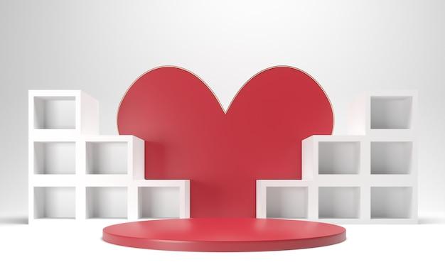 연단, 선물 받침대와 붉은 마음-발렌타인 데이 휴일 그림