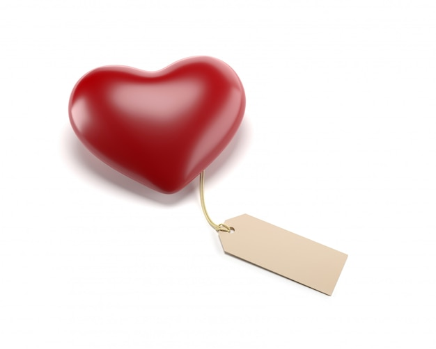 Red heart with price tag free on white background