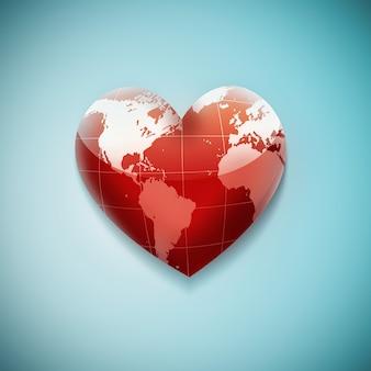 Красное сердце с картой мира на синем фоне Premium Фотографии