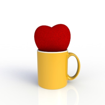Red heart with yellow coffee cup isolated on white background.
