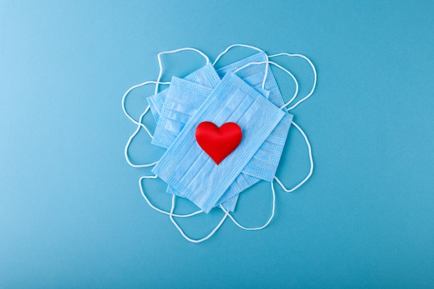 Red hearts and anti-epidemic blue medical protective mask