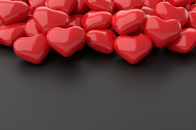 Red hearts background. 3d rendering.