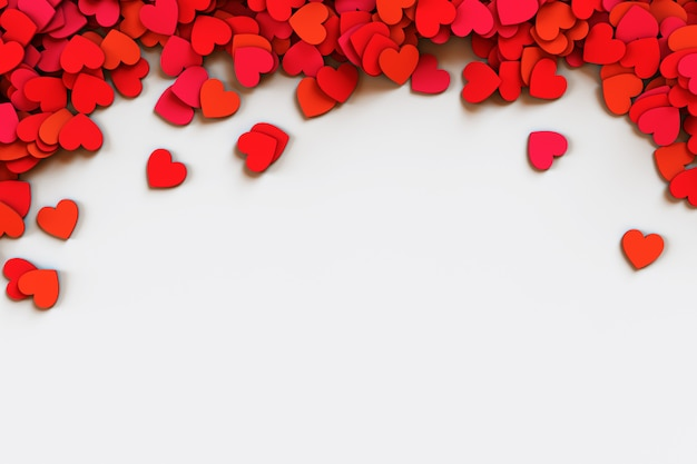 Red hearts confetti. scatter cornered border on white background. 3d rendering illustration