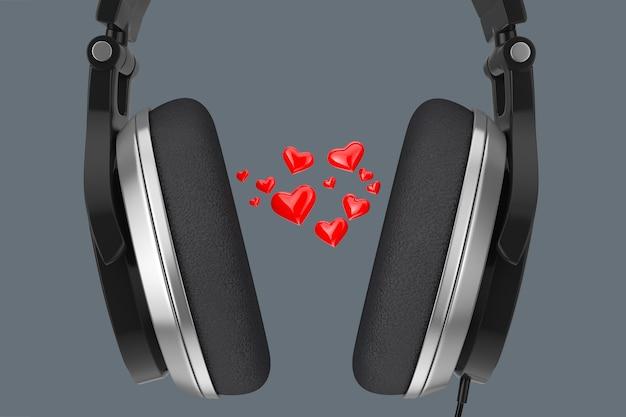 Красные сердца, летящие от одного уха черных наушников к другому, как звук любви на сером фоне. 3d рендеринг
