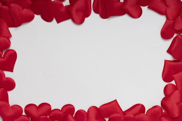 Red hearts  frame with white background, valentine day and  love concept