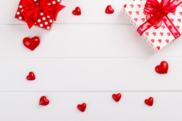 Red hearts and gift boxes