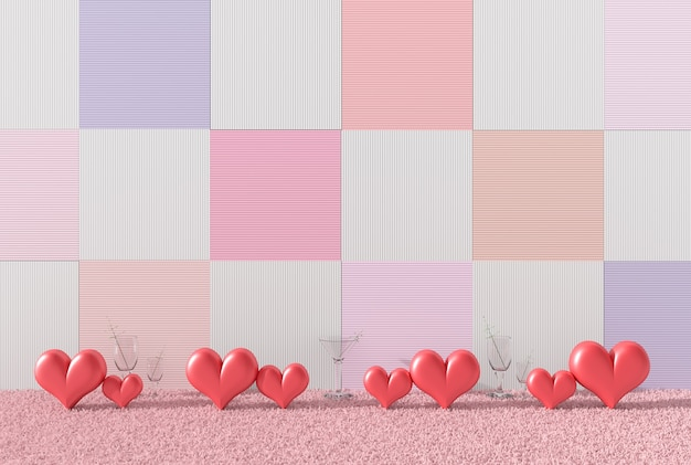 Red hearts&glass wine on pink carpet, variety colors wood walls. love on valentine`s day.
