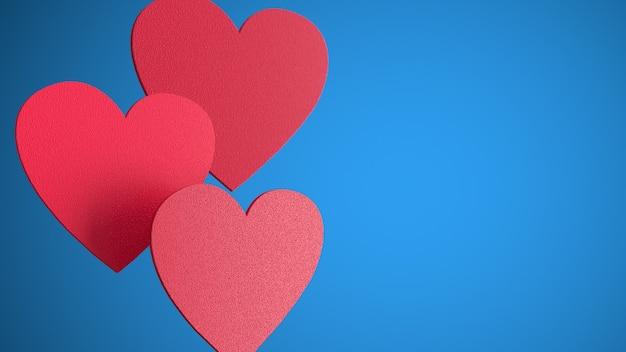 파란 벽에 붉은 마음. 추상 심장. 사랑의 상징. 발렌타인 데이를위한 낭만적 인 벽. 파란색 벽에 격리. 축제 장식 요소. 3d 렌더링 그림