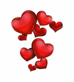 Красные сердца на светлом фоне романтический дизайн
