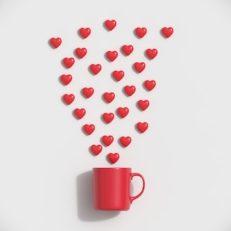 Red hearts shape with red mug on blue background. minimal valentine concept idea.
