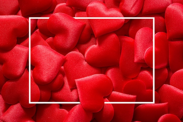 Red hearts surface with square frame for valentines day