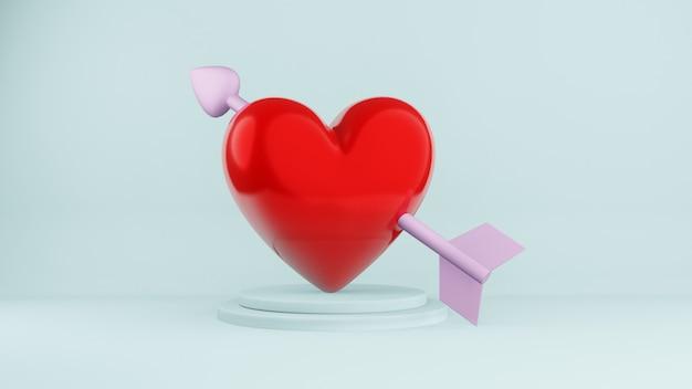 레드 하트, 발렌타인 데이 컨셉, 3d 렌더링