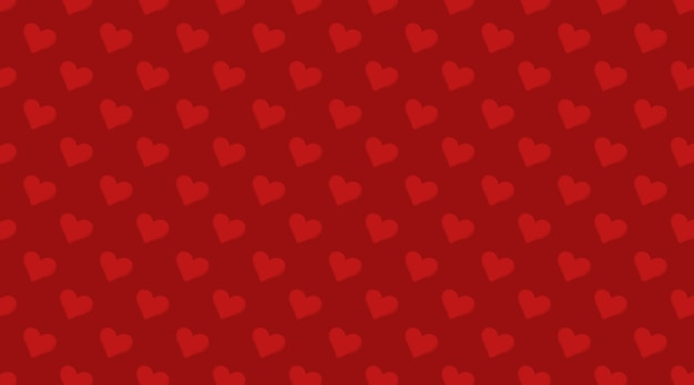 Red hearts valentine's day seamless pattern, love theme illustration