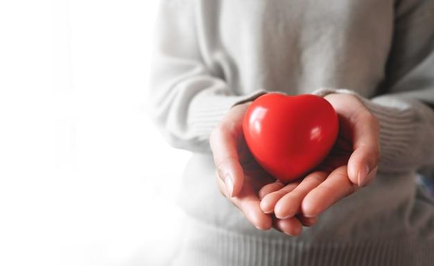 愛情と思いやりのある大人と赤い心。