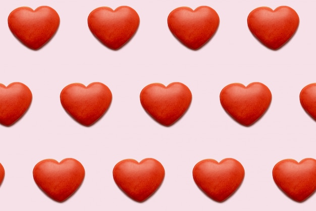 하나의 실의 배경, 발렌타인 카드에 대 한 완벽 한 패턴으로 붉은 마음