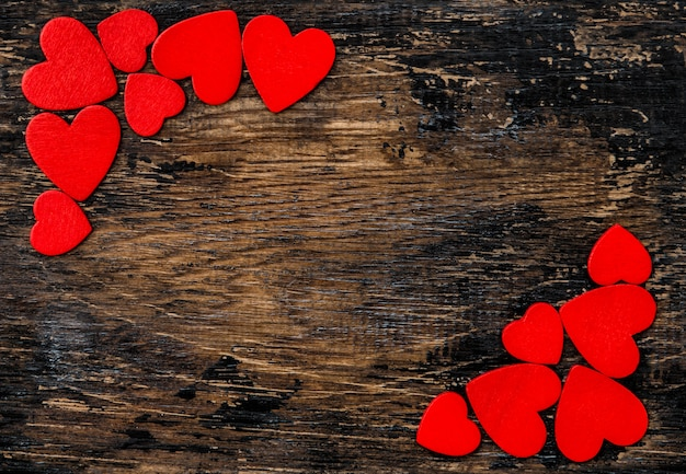 Red hearts wooden background valentines day decoration