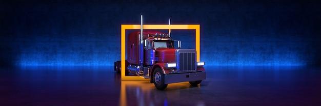 검정색 배경 3d 렌더링에 노란색 프레임이 있는 빨간색 대형 트럭