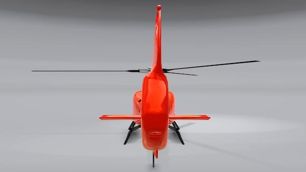 회색 배경에 고립 된 빨간 헬리콥터입니다. 3d 그림입니다.