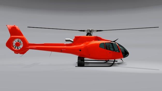 灰色の背景に分離された赤いヘリコプター