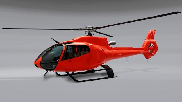 灰色の背景に分離された赤いヘリコプター Premium写真