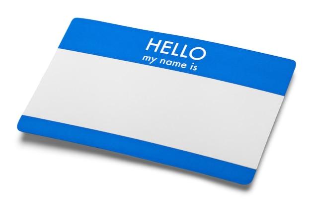 Красный привет, меня зовут тег с копией пространства, изолированных на белом фоне.