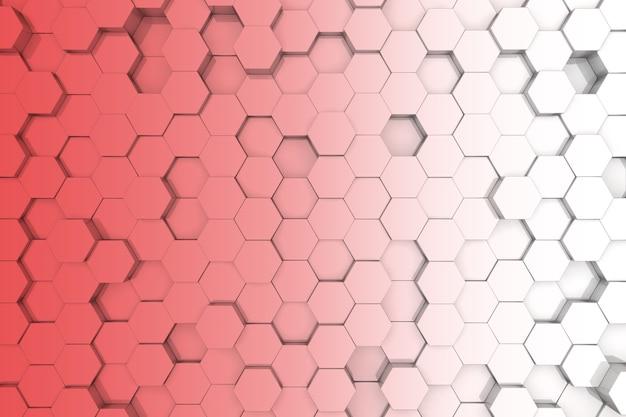 赤い六角形の背景。 3d背景