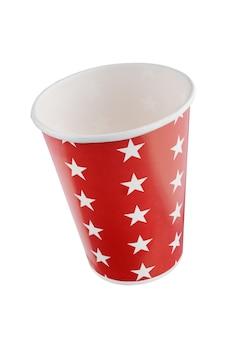 별의 패턴으로 빨간 휴일 종이 컵. + 클리핑 패스