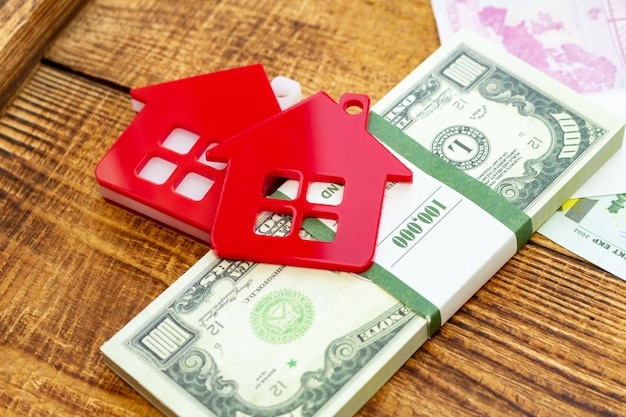 Red home house on the banknotes