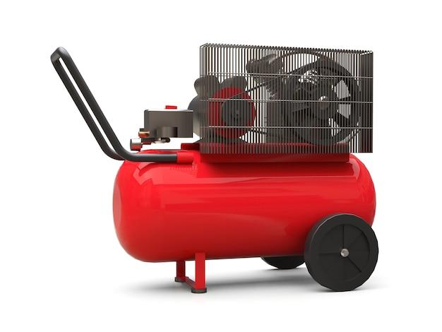 흰색 배경에 고립 된 빨간색 수평 공기 압축기. 3d 그림.