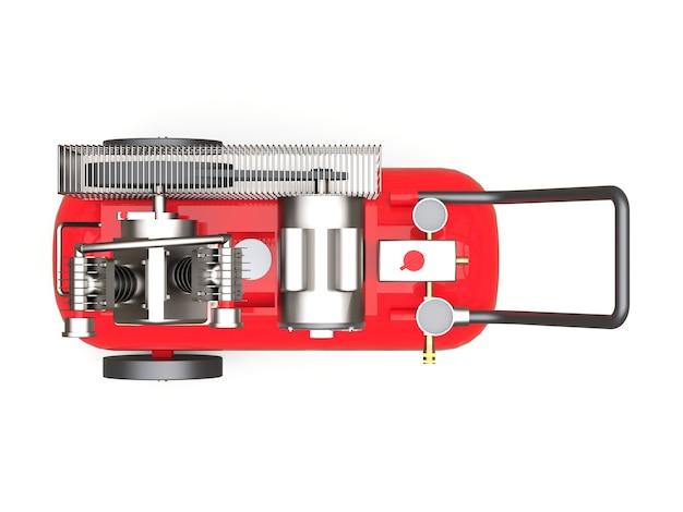 흰색 배경에 격리된 빨간색 수평 공기 압축기입니다. 3d 그림입니다.