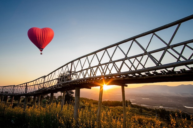 Краснокалильный воздушный шар в форме сердца над заходом солнца на ban doi sa-ngo chiangsaen, провинции chiang rai, таиланде.