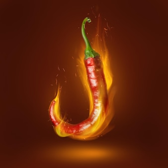 Red hot chili pepper on brown surface with flame