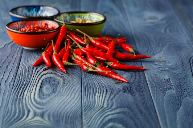 Red hot chili peppers in bowl on rustic wood background.space for your text.
