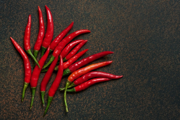 Red hot chili peppers on dark background with copy space