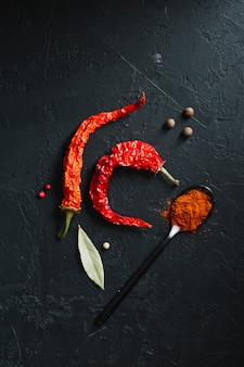 Red hot chilli peppers and spicy powder top view