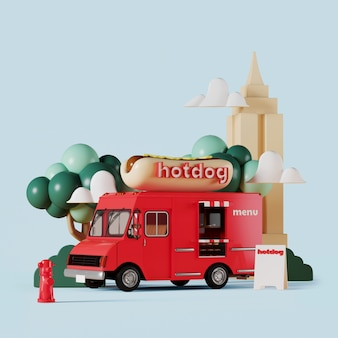 Red hot dog food truck with garden on blue background
