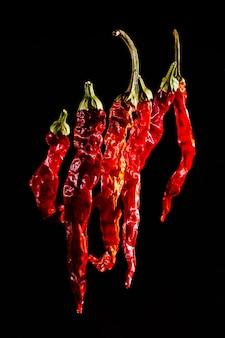붉은 뜨거운 말린 된 고추 검정색 배경에 고립. 칠리 페퍼, 매운 재료, 향신료. 아름 다운 밝은 야채 배경.