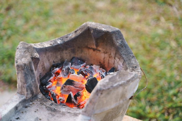 Red hot fire charcoal for traditional cooking