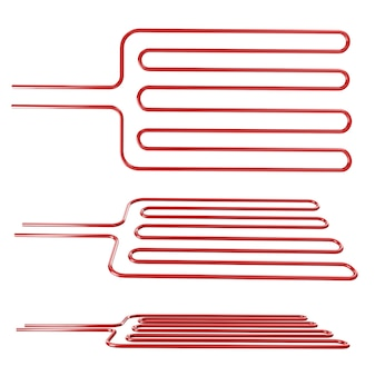 Red-hot grate on white background in different angles 3d rendering