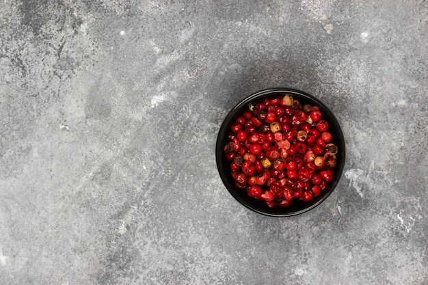 Red hot pepper on a gray background. top view, copy space. food background