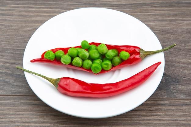Красный острый перец на белой тарелке. специи и овощи. острая пища и витамины