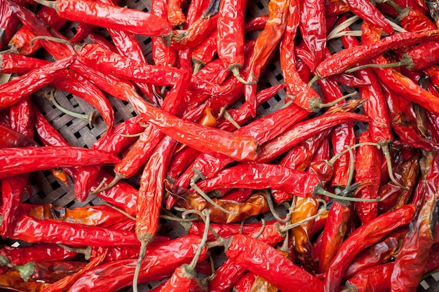 Red hot peppers in dry nature for background