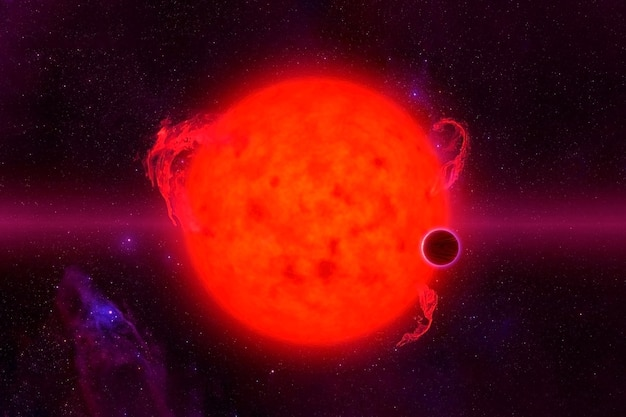 Red hot star. elements of this image were furnished by nasa. for any purpose.