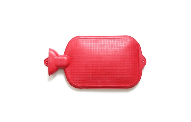 Red hot water bag on white